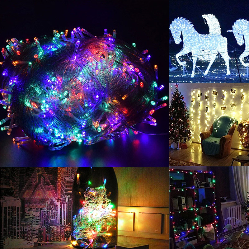 Fairy Light Outdoor Landscape Lamp LED String 10M 100LED Festival Yard Xmas Decor Wedding Solar Power Net Mesh Curtain Garden