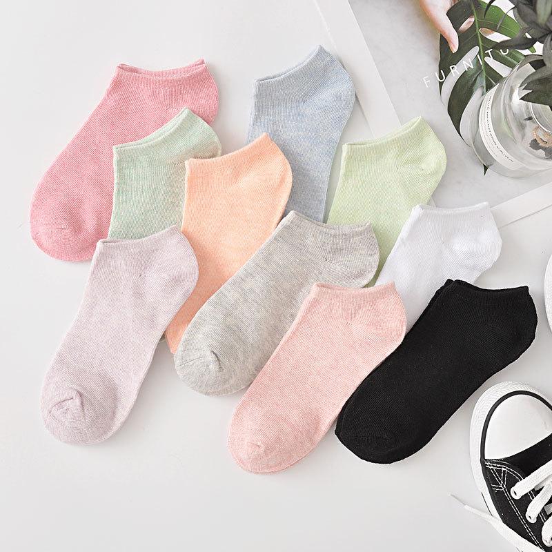 10 шт. = 5 пар/лот, новые модные носки карамельных цветов для женщин и девочек, повседневные короткие женские носки с вырезом-лодочкой