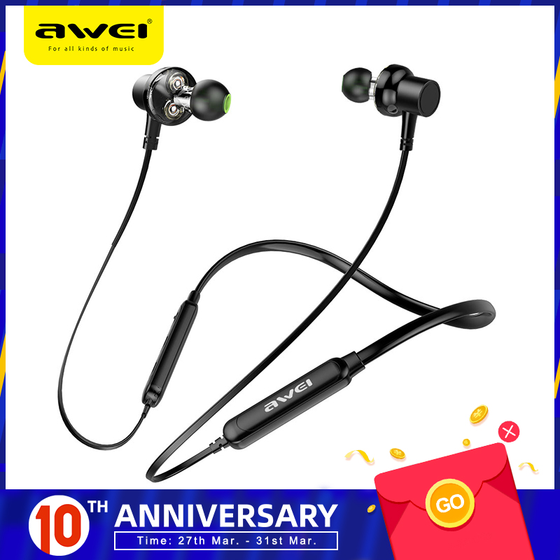 AWEI G20BL Bluetooth Earphone Headphone Dual Driver Headset Wireless Sport Earphone Bass Sound Auriculares Inalambrico Bluetooth|Bluetooth Earphones & Headphones| |  - AliExpress