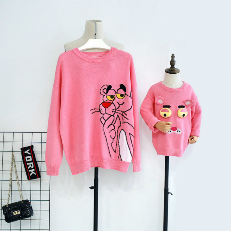 Mother And Daughter Clothes Christmas 2019 New Cartoon Cotton Pink Leopard Pullover Knit Women Girls Autumn Winter Sweater QZ105