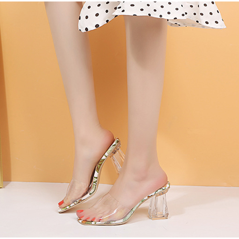 Summer Women Slippers Transparent Heels Elegant Square Toe Print Fashion Female PVC Woman Casual Beach Shoes Ladies Sides