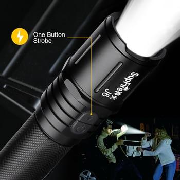 Supfire J6 Military LED Flashlight Glare Self-Defense Torch Light Adventure Camping Searchlight USB Rechargeable Portable Lamp 2