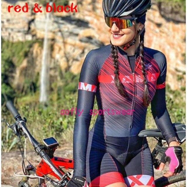 Laranja longo de mangas compridas camisa ciclismo skinsuit 2020 mulher ir pro mtb bicicleta roupas opa hombre macacão 9d gel almofada skinsuit 6