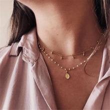 HuaTang Bell Portrait Pearl Beaded Choker Boho Pendant Necklace for Women Metal Chain Multi-Layer Jewelery 8027