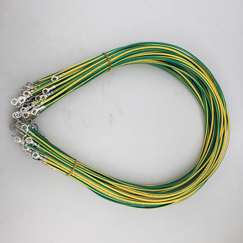 Yellow-Green Grounding Wire with Ring Terminals <font><b>16</b></font> <font><b>AWG</b></font> Copper PV Cabinet Bridge Leakage Earth Cables 50pc/lot image