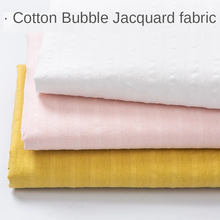 Cotton Fabric 100% Kids Bubble Striped Jacquard Thin Home Clothes Pajamas Dress Shirt Clothing Brocade for Sewing White Pink Diy