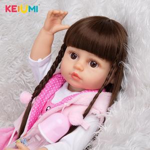 22 Inch KEIUMI Full Silicone Toddler Boneca Bath Doll Toy Cute Long Hair 55 CM Reborn Bebe Toys Doll Kids Birthday XMAS Gift