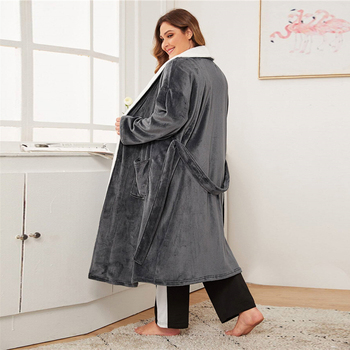 Grey Contrast Self Belted Teddy Robe