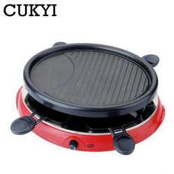 CUKYI household Electric Grills & Electric Griddles Barbecue Smokeless Plate Multifunctional frying pan 900W with four dishes
