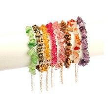 Irregular natural multicolor stone jewelry fashion gravel beads rose crystal quartz bracelet female gifts