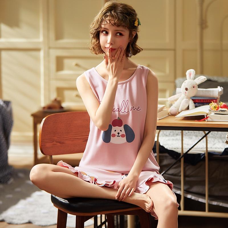 Pajamas Female Summer 6535 Knitted Cotton Vest Shorts Korean-style Women's Japanese Korean Thin Tracksuit Spring And Autumn Set