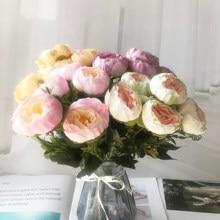 1 букет 6 головок Искусственный Пион Чай роза цветы камелии Шелковый Искусственный цветок flores набор «сделай сам» для дома сад свадебные укра...