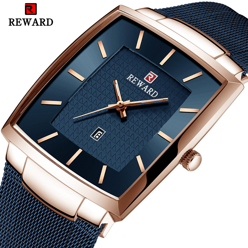 REWARD Top Brand Men's Watch Business Relogio Masculino Square Quartz Man Watch Men Wristwatch Full Steel Waterproof Male Watch Quartz Watches     - title=