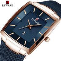 REWARD Top Brand Men's Watch Business Relogio Masculino Square Quartz Man Watch Men Wristwatch Full Steel Waterproof Male Watch