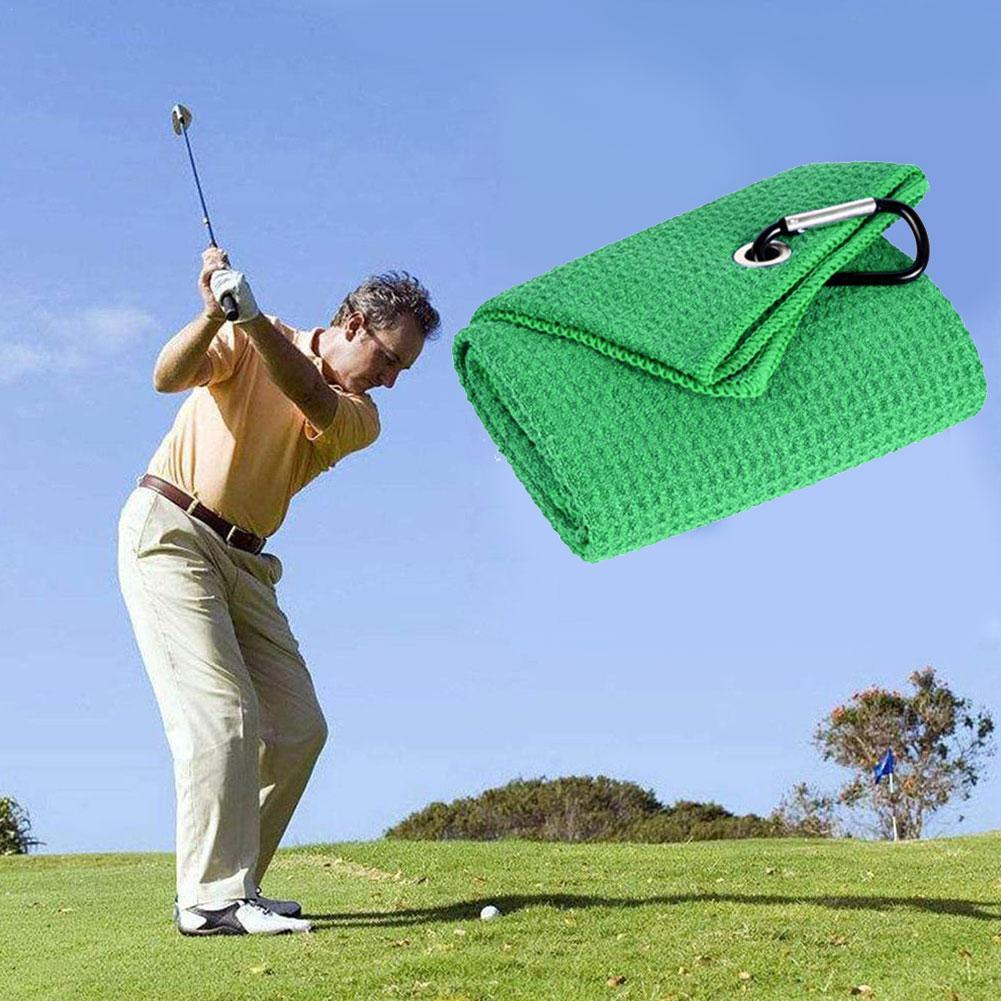 Golf Towel Waffle Pattern Cotton With Carabiner Cleaning Towels Cleans Hook Balls Microfiber Clubs Hands B0F2