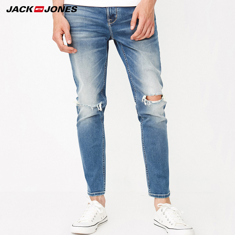 Jack Jones Spring Mens Slim Fit Holes Jeans Pants|218332573