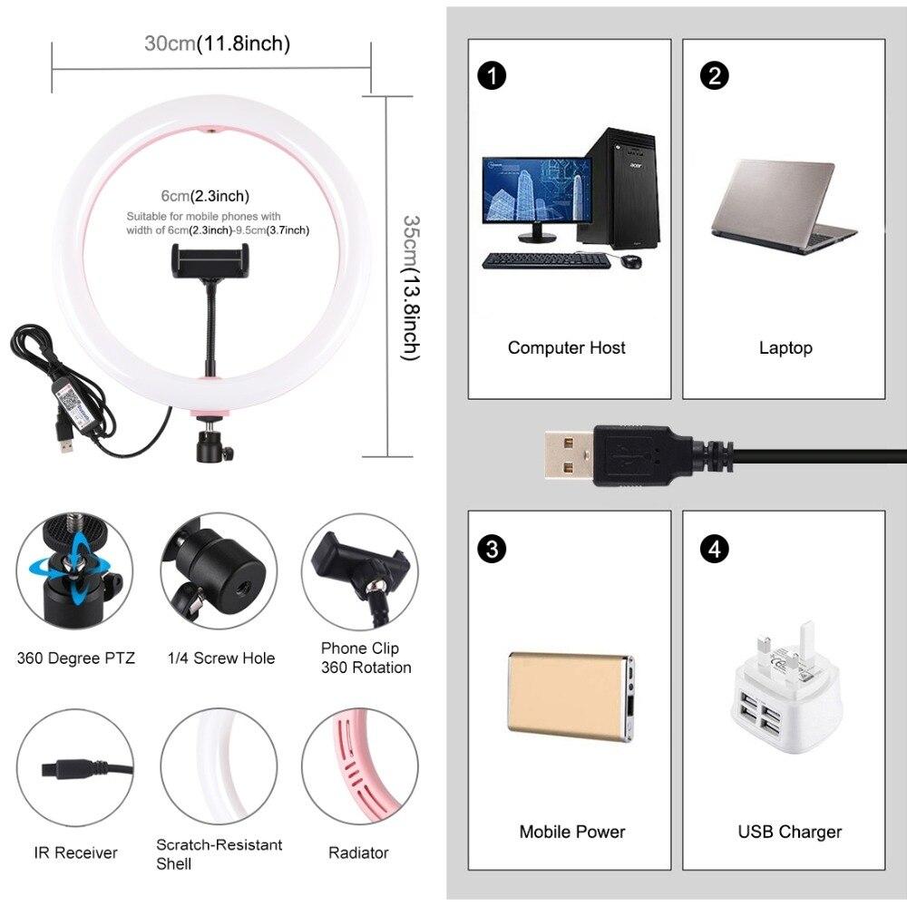 cheapest 26cm Photography Table LED Light Tripod Ring Lamp Youtube Video Live Photo Studio Selfie Stick Makeup Light For Phone
