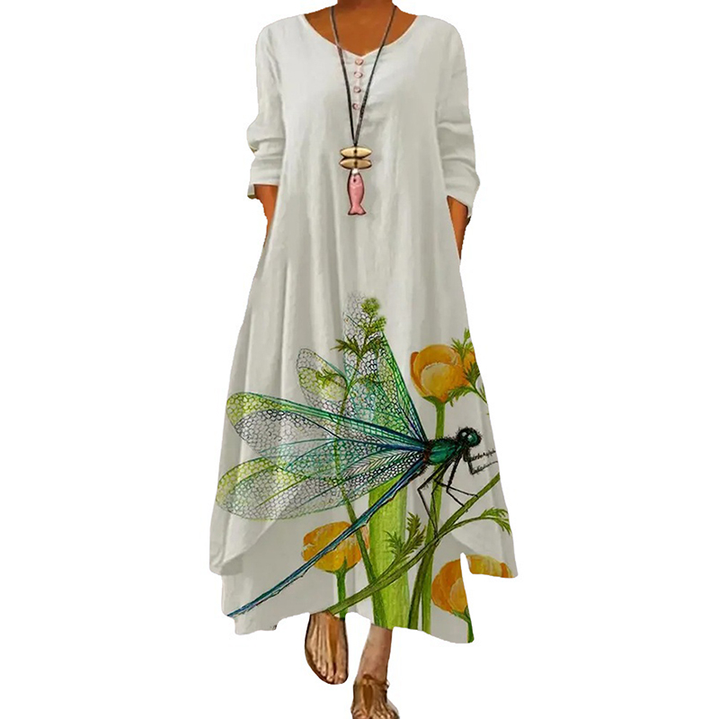 2021 Elegant Flowers Print Long Sleeve Spring Summer Dresses Casual O Neck Loose Women Dress Vintage Party Vestidos Long Dresses 13