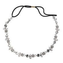 Fashion Women Silver Rhinestone Crystal Flower Hair Band / Elastic Headband-Silver