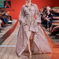 AELESEEN Runway Designer Pink Dress 2020 Spring Long Sleeve Plus Size Dress Hollow Out Embroidery Party Irregular Cotton Dress