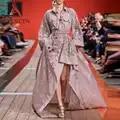 Vestido rosa de diseñador de pasarela de AELESEEN 2020 vestido de Primavera de manga larga de talla grande ahuecado vestido de algodón Irregular de fiesta de bordado