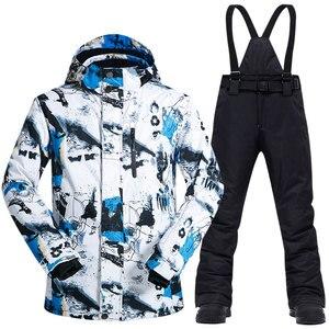 Image 3 - Ski Anzug Männer Winter Thermische Wasserdicht Winddicht Kleidung Schnee Hosen und Ski Jacke Männer Set Skifahren und Snowboarden Anzüge Marken