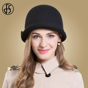 Image 2 - FS Black Wool Felt Fedoras Hat For Women Elegant Church Cap Pink Bow Curl Birm Ladies Cloche Hats Winter Floppy Bowler Caps