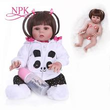 NPK 48CM bebes doll reborn toddler doll girl in panda dress full body soft silicone realistic baby bath toy Anatomically Correct недорого