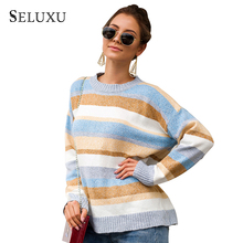 Seluxu 2019 New Autumn Women Sweater Long Sleeve Striped Round Neck Collar Tops