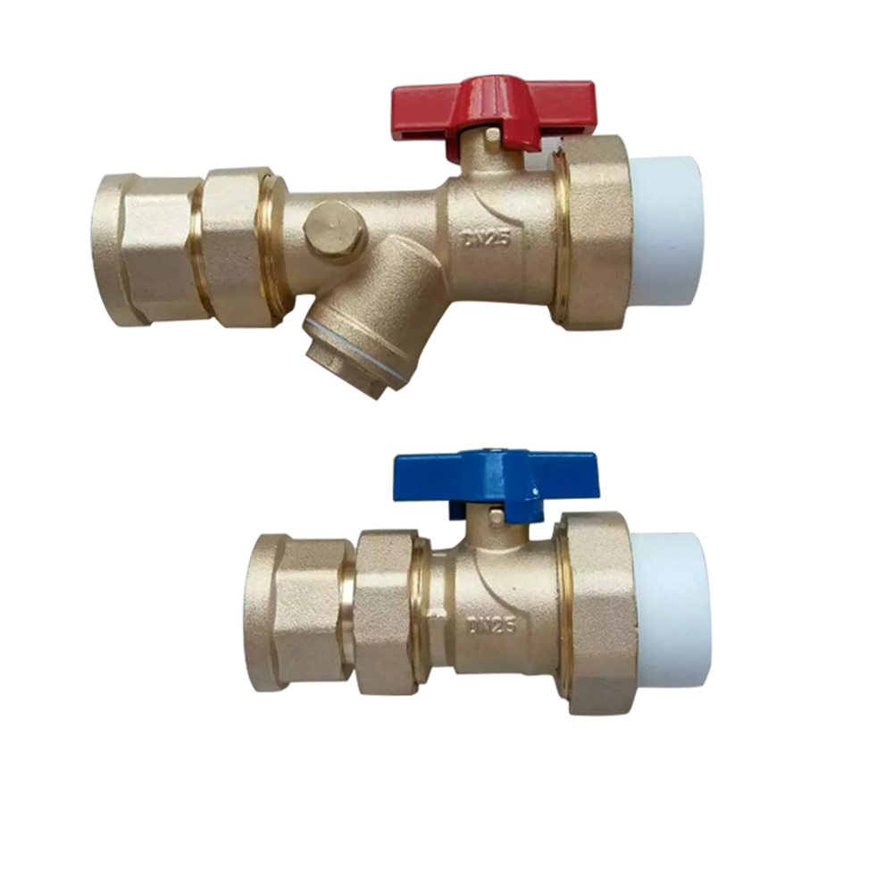 Floor Heating Manifold Main Valve Filter Ball Valve Inside And Outside Wire Floor Heating Accessories With Pressure Gauge