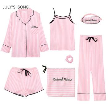 JULY #8217 S SONG różowe damskie 7 sztuk piżamy ustawia imitacja jedwabiu paski piżamy kobiety piżamy zestawy wiosna lato jesień Homewear tanie i dobre opinie JULY S SONG Acetate Stałe WOMEN Faux Silk A8E0101-0028 Skręcić w dół kołnierz Pełnej długości Pełna AUTUMN 7 pieces pajamas sets