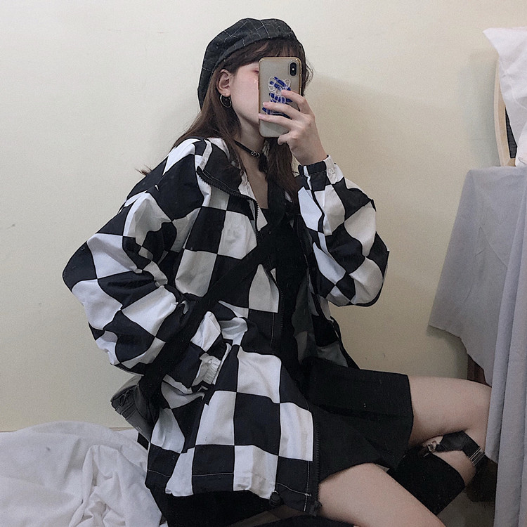 Checkerboard Thin Jacket Women Sunscreen Checker Casual Drawstring Harajuku Plaid Oversize Coat Grunge Street Style 2019