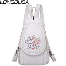 Mochila 3 en 1 de piel de oveja con bordado de mariposa para mujer, bolsa de pecho de cuero genuino suave para madre, bolsa de gran capacidad