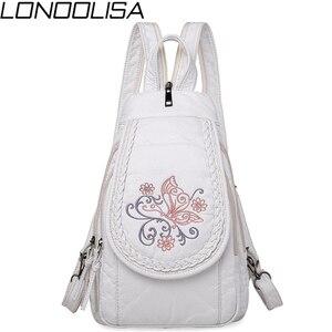Image 1 - Schmetterling Stickerei Schaffell Frauen Rucksack 3 in 1 Weiche Echtes Leder Brust Tasche Für Mutter Damen Große Kapazität Bagpack