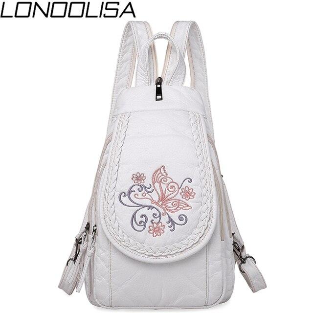 Schmetterling Stickerei Schaffell Frauen Rucksack 3 in 1 Weiche Echtes Leder Brust Tasche Für Mutter Damen Große Kapazität Bagpack
