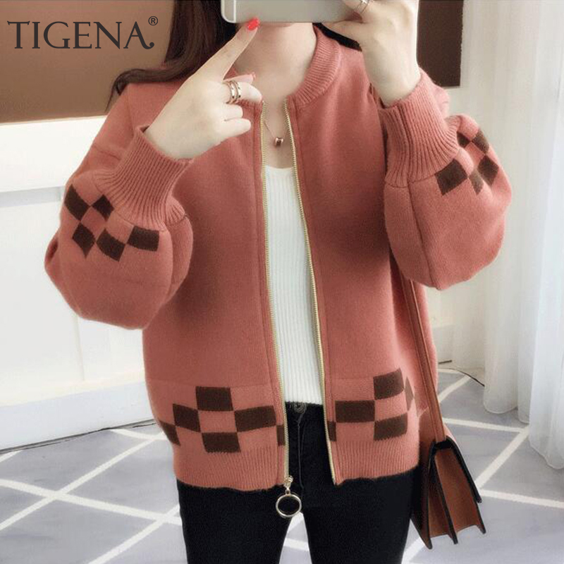 TIGENA Zipper Cardigan Women 2019 Autumn Winter Korean Long Sleeve Sweater Cardigan Female Knitted Jacket Women Yellow Red Blue