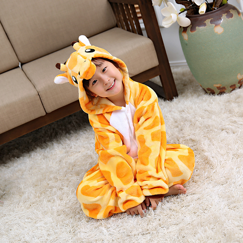 Giraffe Hot Selling Parent And Child Toilet Edition Tracksuit Pajamas Flannel Children Cartoon One-piece Pajamas