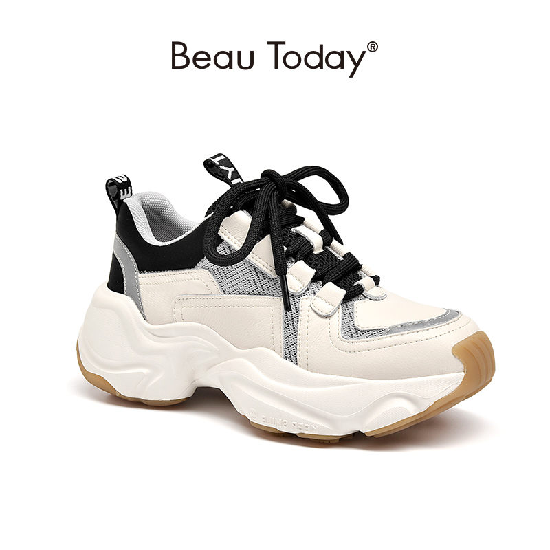 BeauToday Chunky Sneakers Women Genuine Cow Leather Nylon Mesh Retro Design Lace-Up Closure Lady Platform Shoes Handmade 2933310