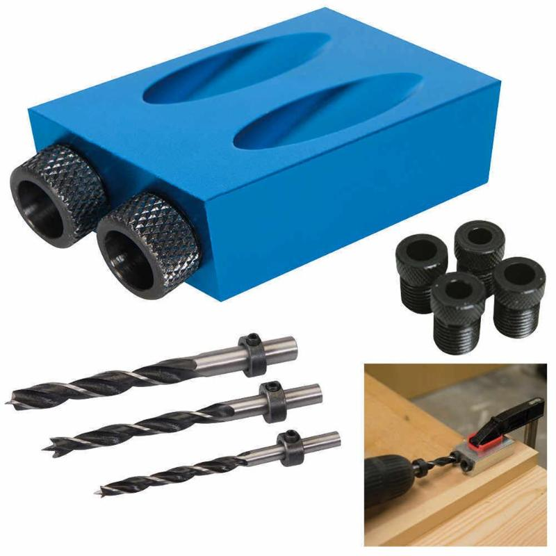 Oblique Hole Locator Drill Bits Woodworking Pocket Hole Jig Kit 15 Degree Angle Drill Guide Set Hole Puncher DIY Carpentry Tools