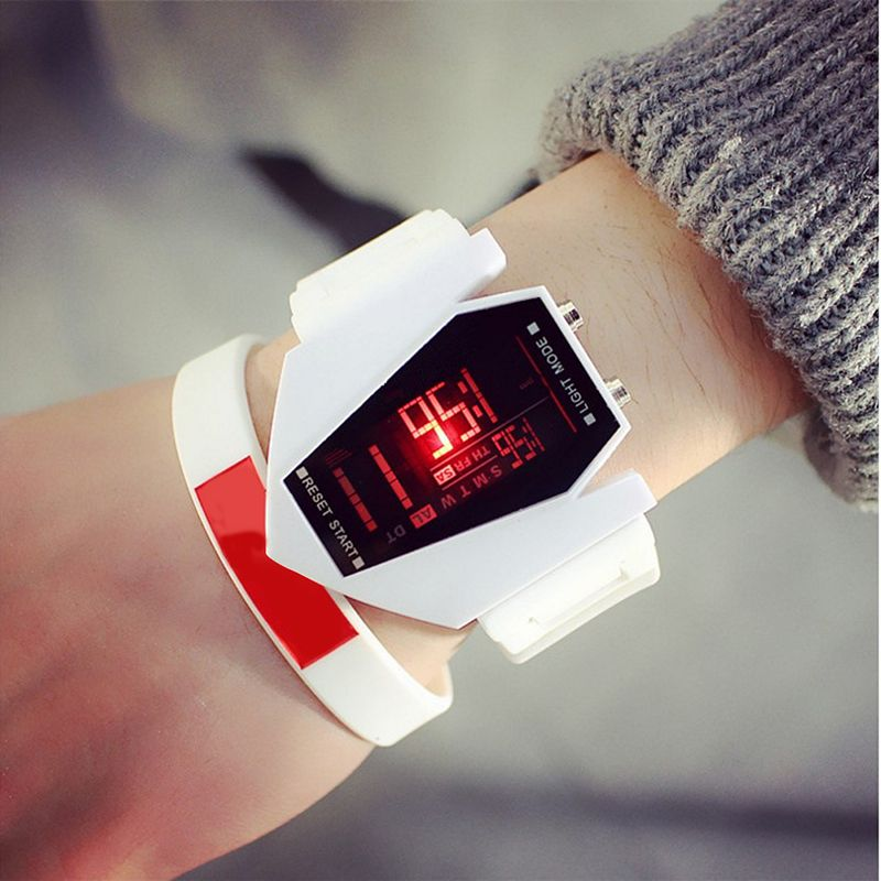 Unisex Fashion Personality Multi-functional LED Solid Color Silicone Band Wristwatch