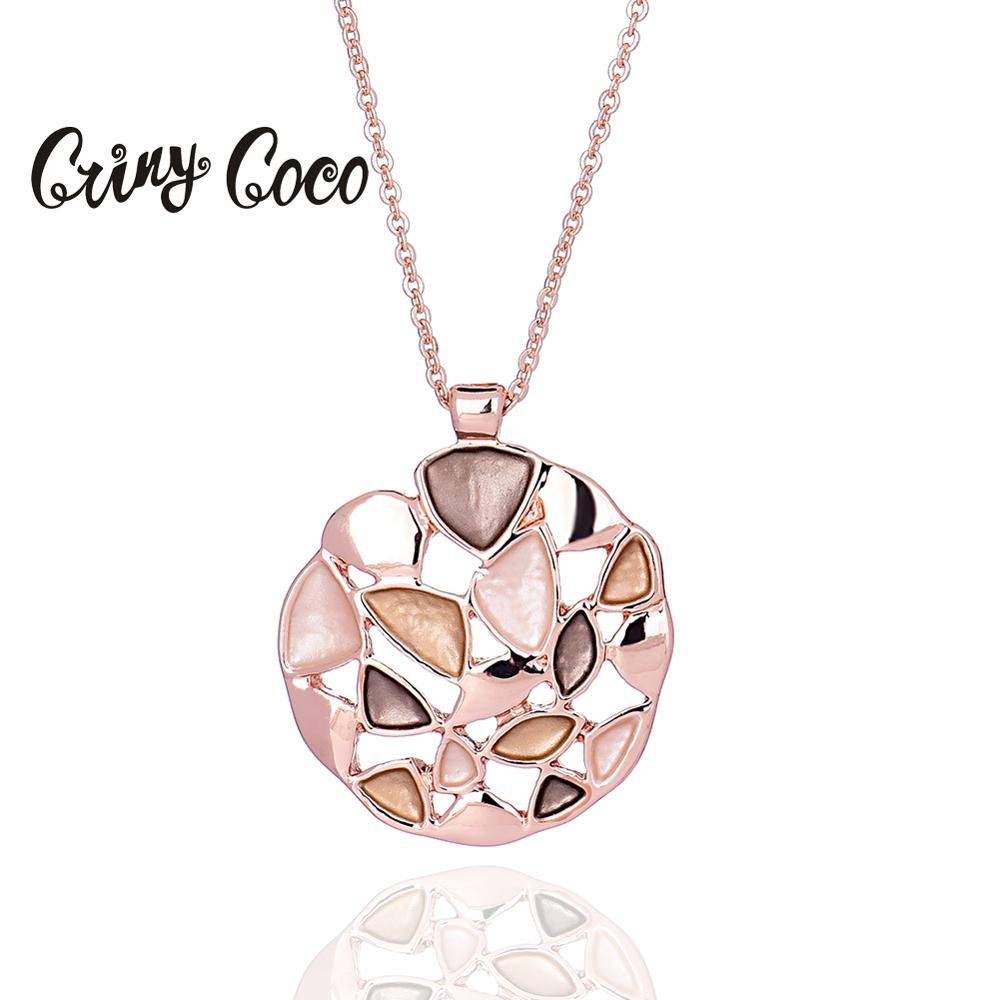 2020 Fashion Rose Gold Color Pendant Necklace for Women Trend Geometric Choker Necklaces Elegant Lady Party Jewelry Chain Gifts