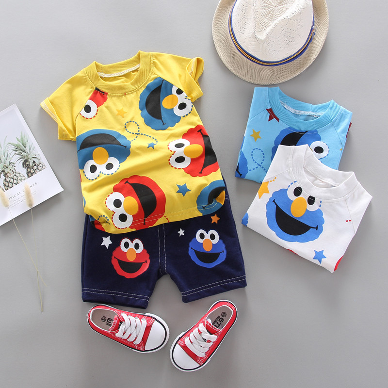 Summer Children Boys Girls Clothes Kids Cartoon Clothing Infant Suit Toddler T-Shirt Pants Set Baby Casual Tracksuit 0-4 Years