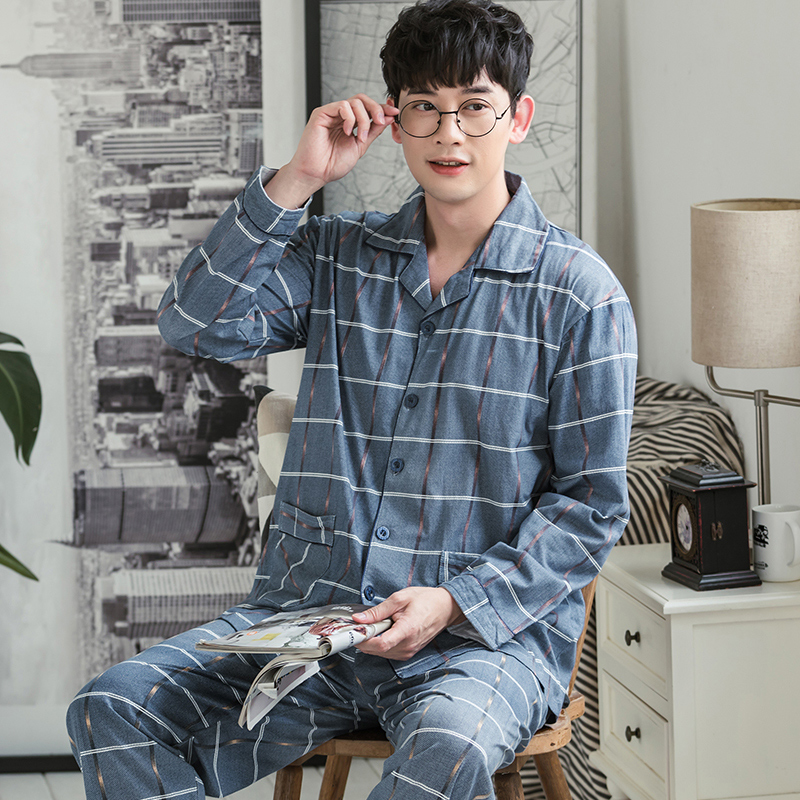 Winter Cotton Men Pajamas Lounge Sleepwear Solid Plaid Pijama Man's Warm Bedgown Home Clothes 100% Pure Cotton Pijama Hombre PJ