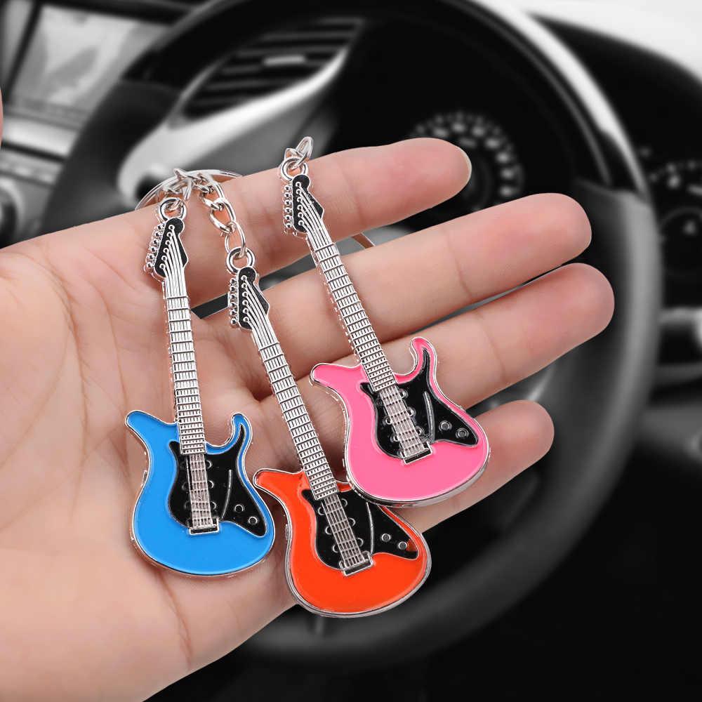 Nowy projekt gitara klasyczna brelok brelok do kluczyków do samochodu brelok instrumenty muzyczne srebrny wisiorek dla mężczyzny kobiety prezent