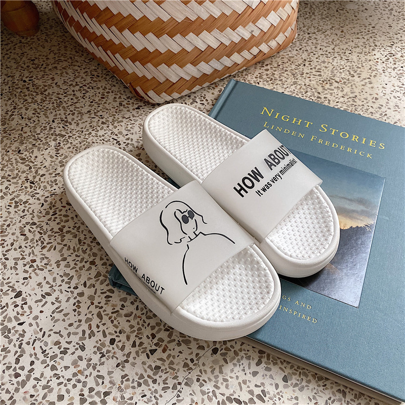 Women Slippers Fashion Summer Ins Cartoon Character Non-slip Casual Lovers Slippers Personal Concise Outside Shoes Comfortable