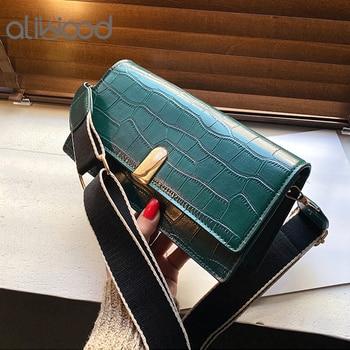 Aliwood 2020 New Style Fashion Alligator Women Shoulder Bags Leather Crossbody Bags Wide Shoulder Strap Flap bag Messenger Bags фото