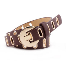 Fashionable Wild Hollow Decorative Women Leather Belt Simple Korean Version with