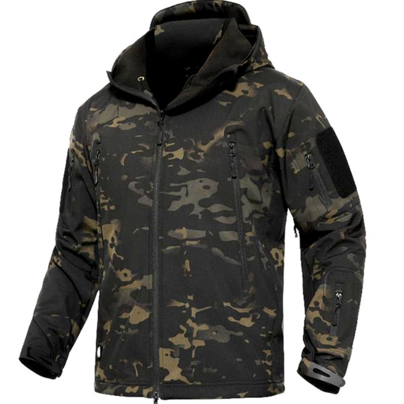CAMOUFLAGE JACKET MEN 2019 Army Military Style Tactical Soft Shell Warm Fleece Waterproof Coat Male CAMO