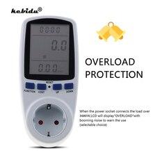 Kebidu 230v ac power meters tomada digital tensão wattmeter consumo de energia watt medidor de energia analisador de eletricidade monitor da ue