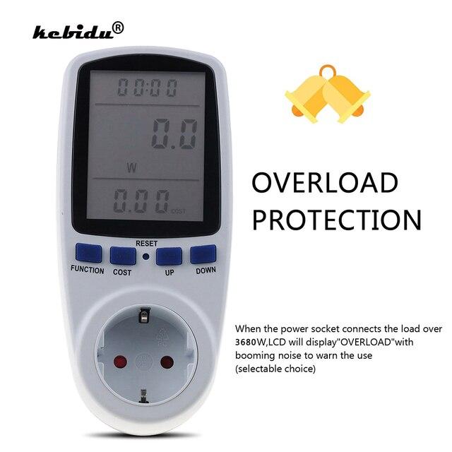 Kebidu medidores de potencia de CA de 230V, vatímetro Digital de toma, medidor de consumo de energía de vatios, Analizador de electricidad, Monitor EU